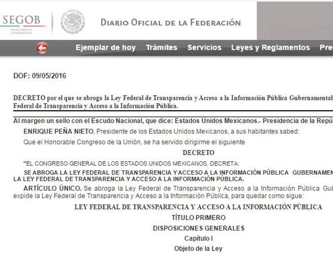 Segob publica nueva Ley Federal de Transparencia