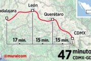 ¿Viajar de CDMX a Guadalajara en 47 minutos? podría ser posible gracias a un moderno tren