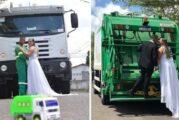 Novia hizo fotos de su boda en camión de basura para honrar el trabajo de su esposo. Valora su labor
