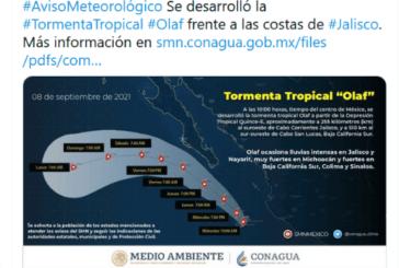 Seguirán las lluvias: Tormenta tropical ''Olaf'' se forma frente a costas de Jalisco